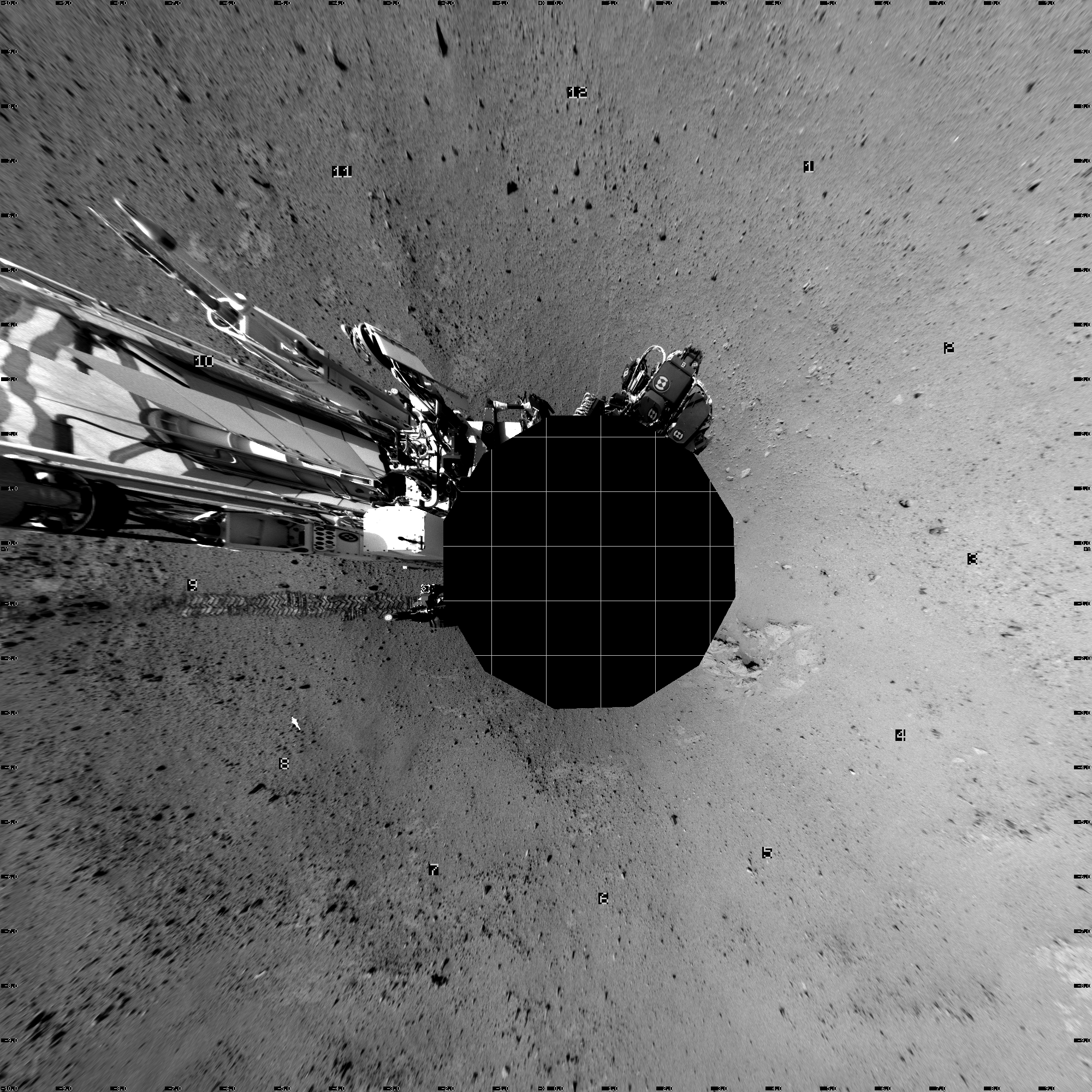 This Vertical Projection image was acquired by NASA's Mars rover Curiosity on Sol 38, at drive 404, site number 4.