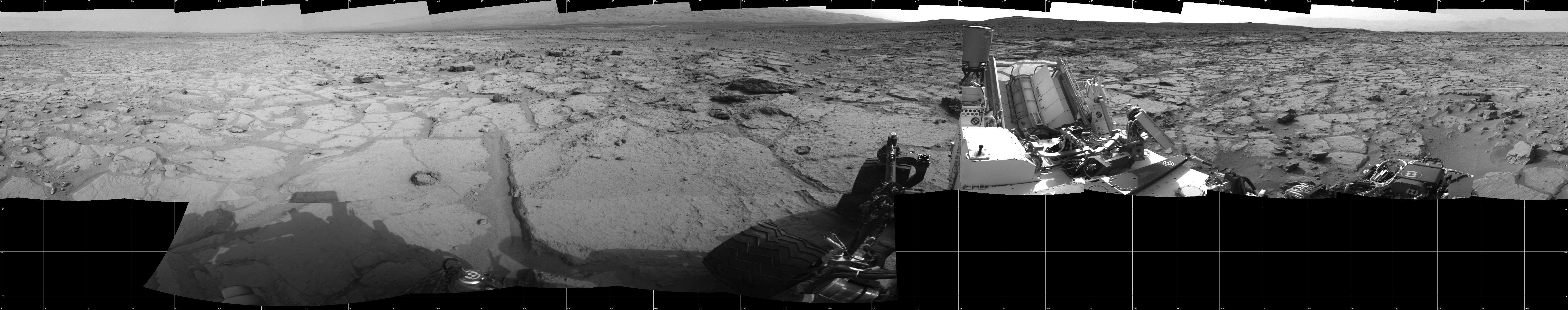 This Cylindrical image was acquired by NASA's Mars rover Curiosity on Sol 123, at drive 1070, site number 5.