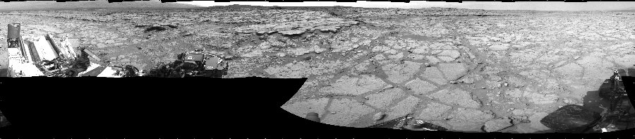 This Cylindrical image was acquired by NASA's Mars rover Curiosity on Sol 125, at drive 1398, site number 5.