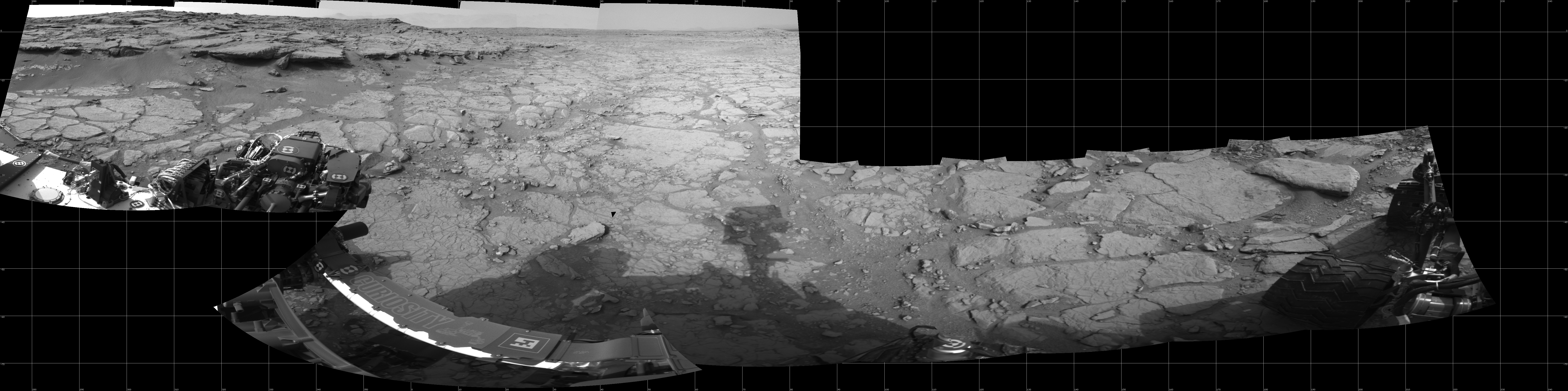 This Cylindrical image was acquired by NASA's Mars rover Curiosity on Sol 127, at drive 1576, site number 5.