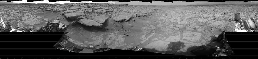 This Cylindrical image was acquired by NASA's Mars rover Curiosity on Sol 131, at drive 1662, site number 5.