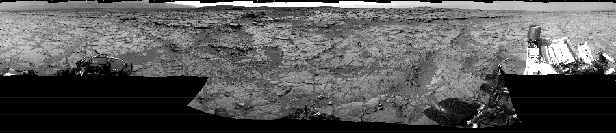 This Cylindrical image was acquired by NASA's Mars rover Curiosity on Sol 133, at drive 1858, site number 5.