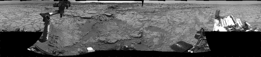 This Cylindrical image was acquired by NASA's Mars rover Curiosity on Sol 147, at drive 1902, site number 5.
