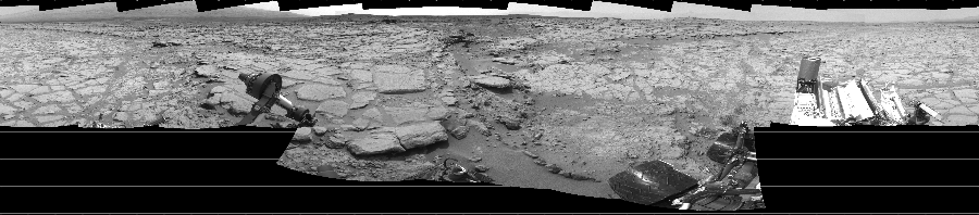 This Cylindrical image was acquired by NASA's Mars rover Curiosity on Sol 157, at drive 1954, site number 5.