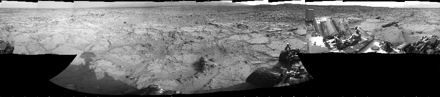 This Cylindrical image was acquired by NASA's Mars rover Curiosity on Sol 122, at drive 938, site number 5.