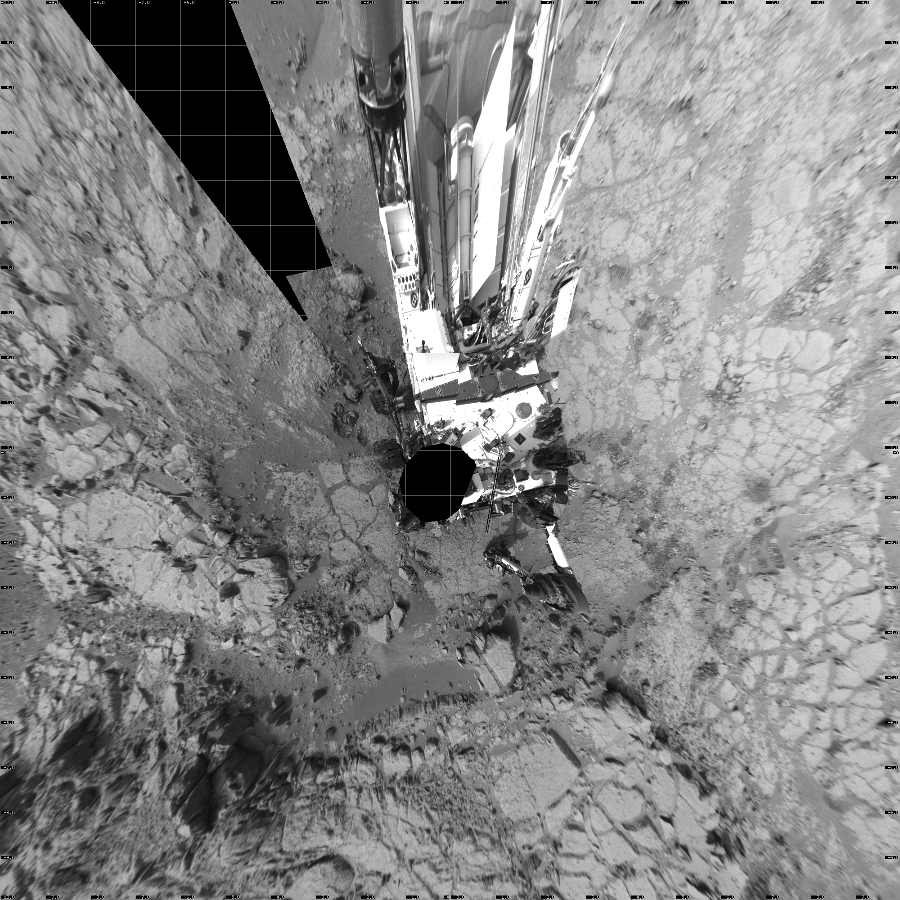 This Vertical Projection image was acquired by NASA's Mars rover Curiosity on Sol 169, at drive 0, site number 6.