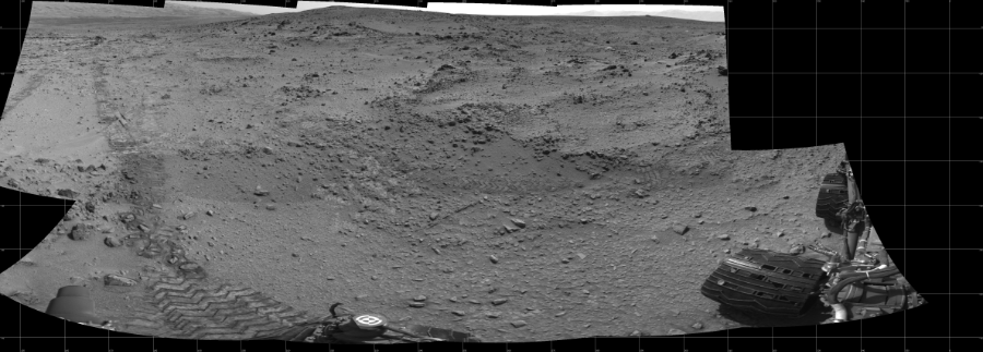 This Cylindrical image was acquired by NASA's Mars rover Curiosity on Sol 324, at drive 0, site number 7.