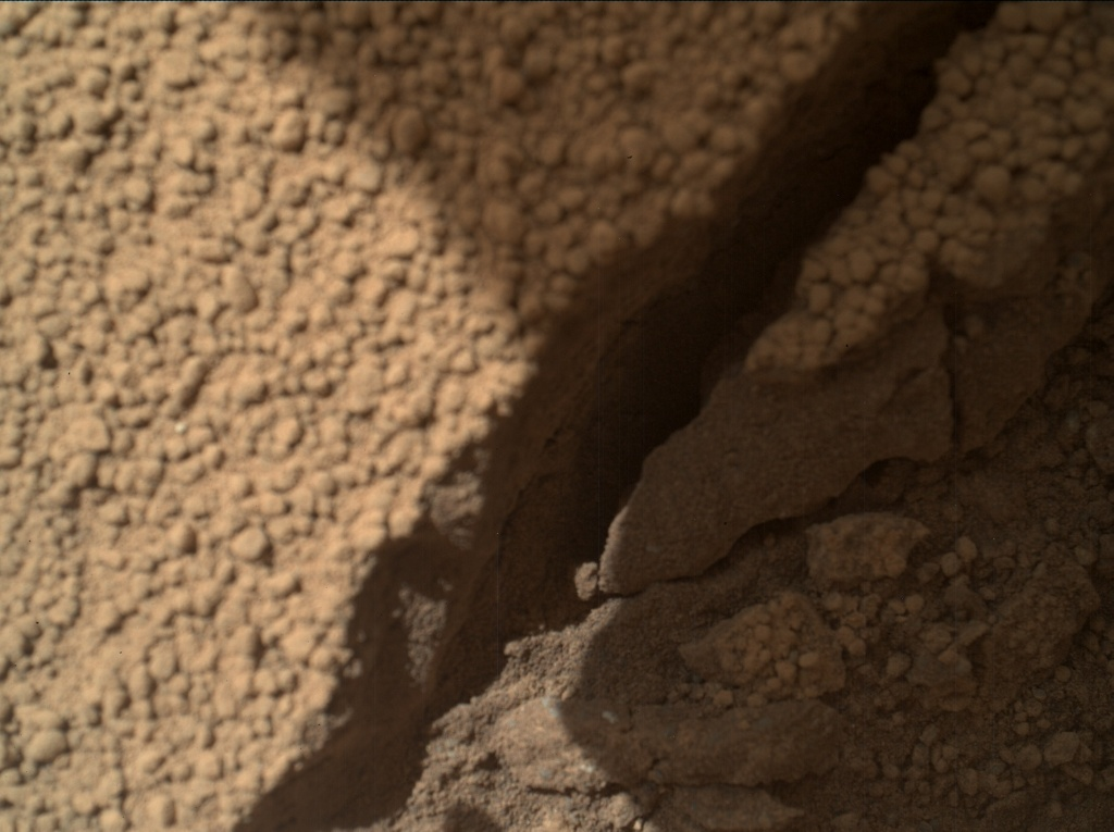 NASA's Mars rover Curiosity acquired this image using its Mars Hand Lens Imager (MAHLI) on Sol 66