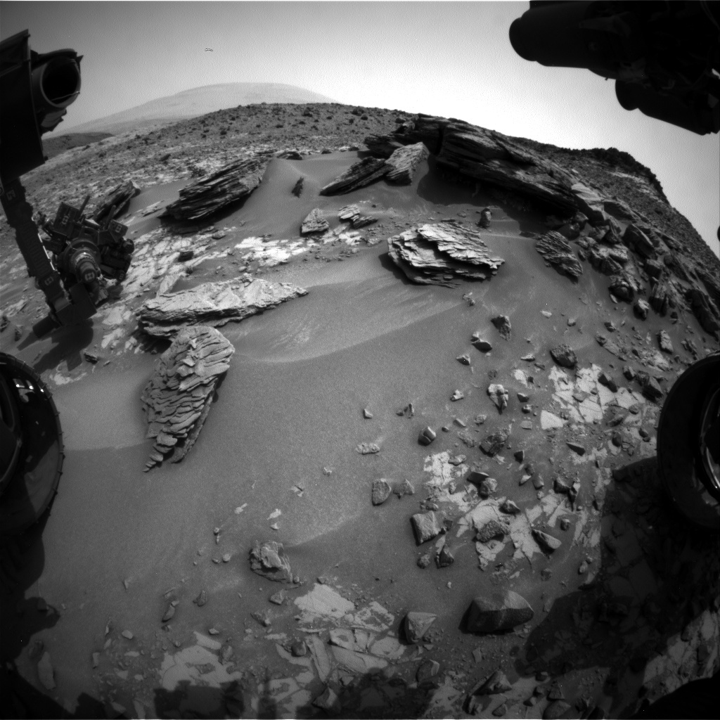 NASA's Mars rover Curiosity acquired this image using its Front Hazard Avoidance Cameras (Front Hazcams) on Sol 845