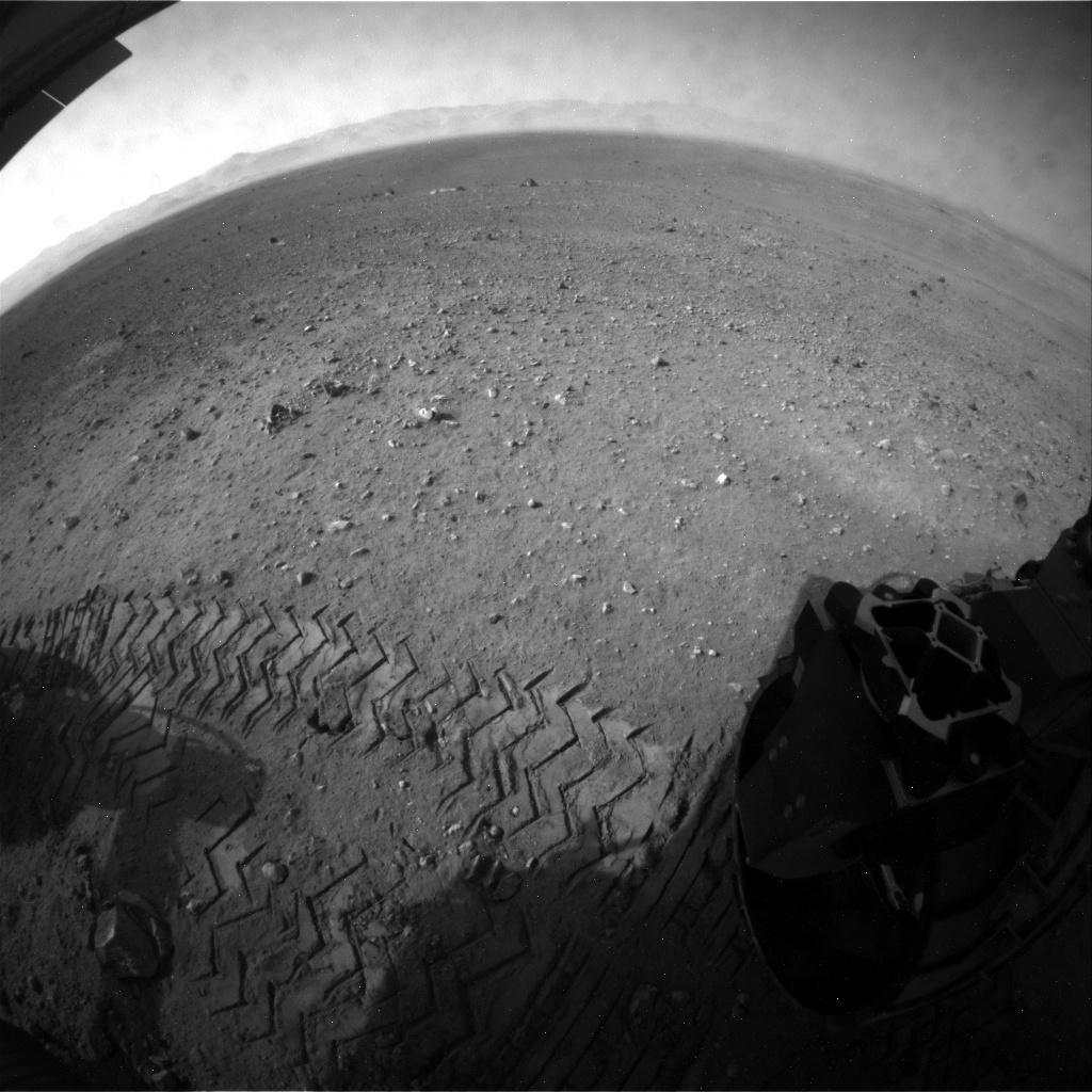 NASA's Mars rover Curiosity acquired this image using its Rear Hazard Avoidance Cameras (Rear Hazcams) on Sol 21