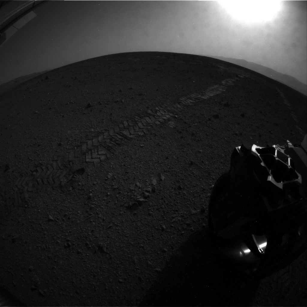 NASA's Mars rover Curiosity acquired this image using its Rear Hazard Avoidance Cameras (Rear Hazcams) on Sol 22