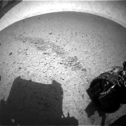 NASA's Mars rover Curiosity acquired this image using its Rear Hazard Avoidance Cameras (Rear Hazcams) on Sol 24