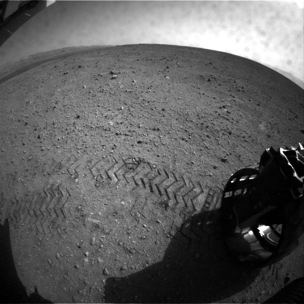 NASA's Mars rover Curiosity acquired this image using its Rear Hazard Avoidance Cameras (Rear Hazcams) on Sol 26