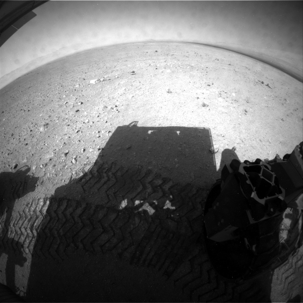 NASA's Mars rover Curiosity acquired this image using its Rear Hazard Avoidance Cameras (Rear Hazcams) on Sol 29