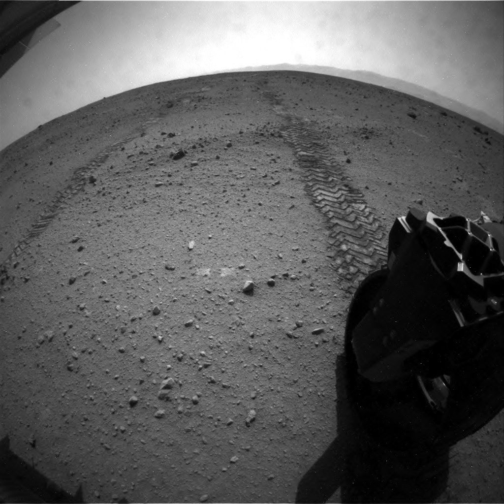 NASA's Mars rover Curiosity acquired this image using its Rear Hazard Avoidance Cameras (Rear Hazcams) on Sol 38
