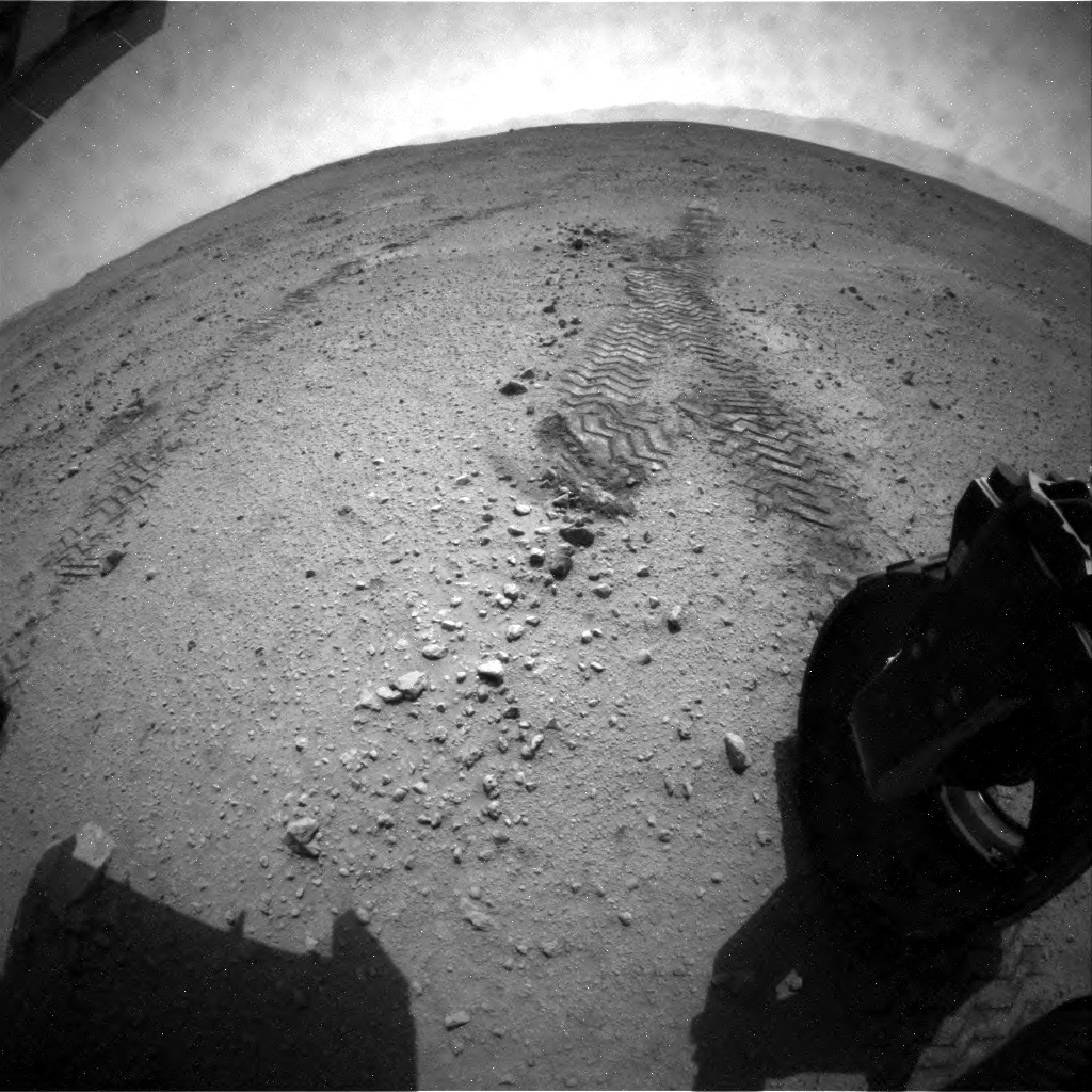 NASA's Mars rover Curiosity acquired this image using its Rear Hazard Avoidance Cameras (Rear Hazcams) on Sol 39