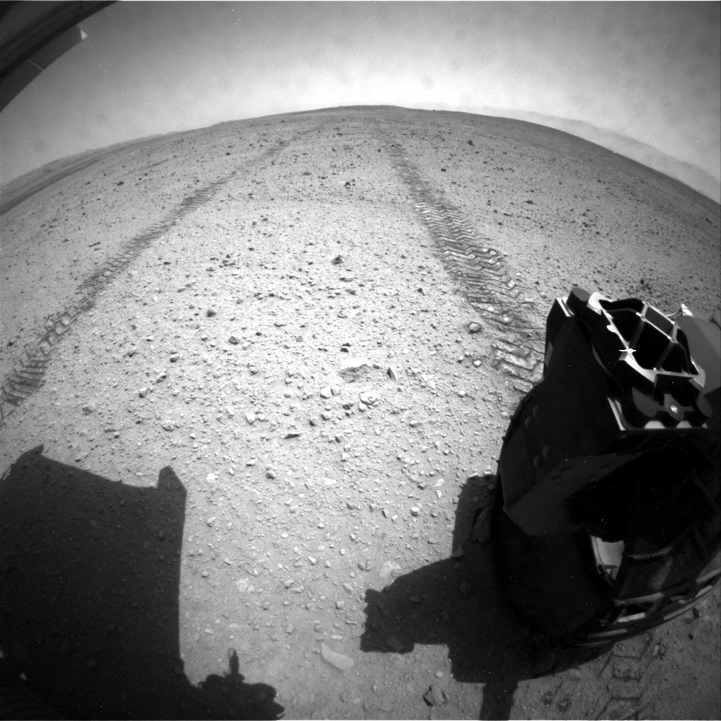 NASA's Mars rover Curiosity acquired this image using its Rear Hazard Avoidance Cameras (Rear Hazcams) on Sol 41