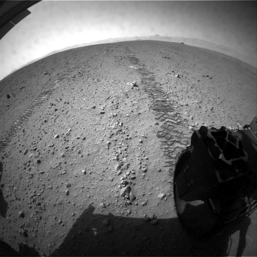NASA's Mars rover Curiosity acquired this image using its Rear Hazard Avoidance Cameras (Rear Hazcams) on Sol 43