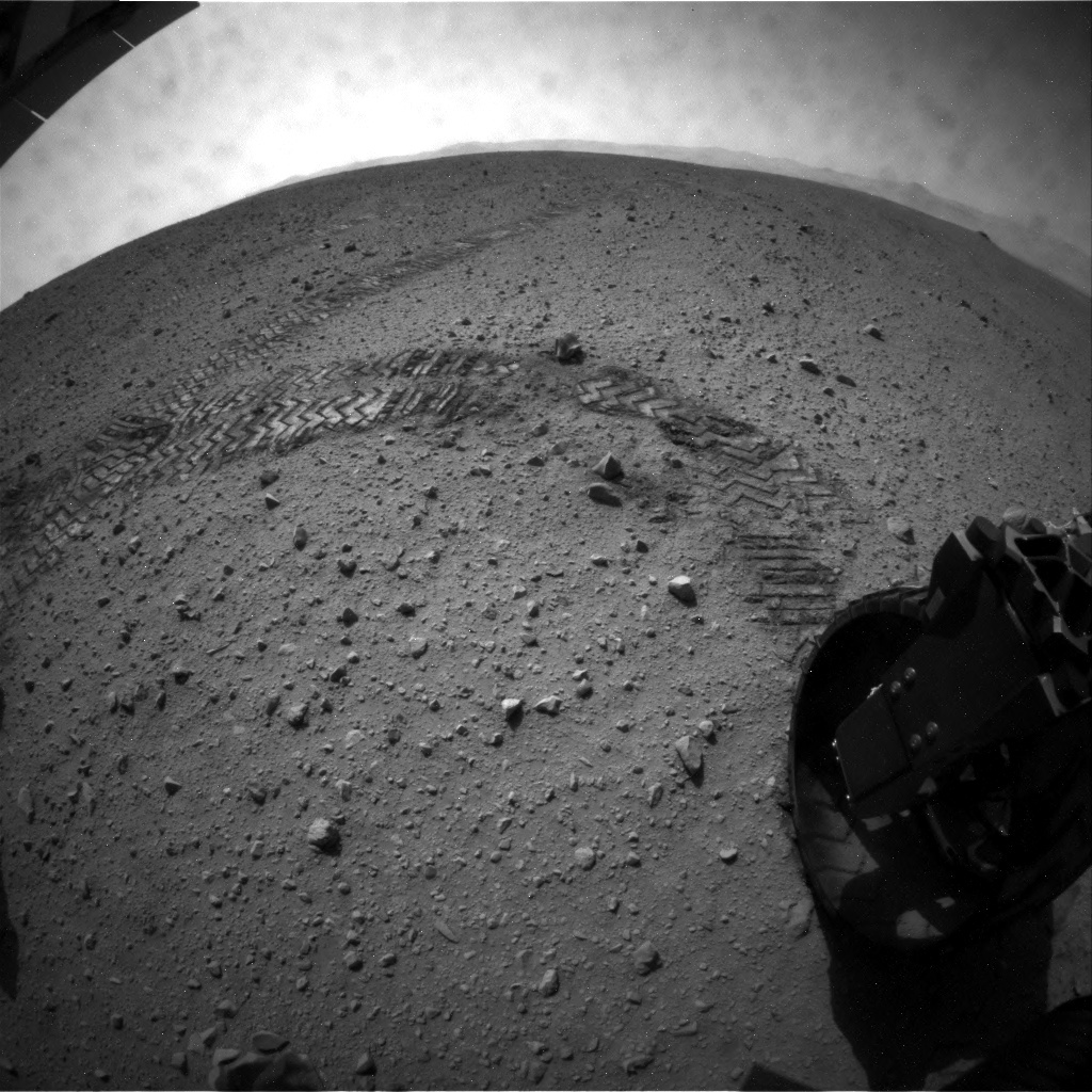 NASA's Mars rover Curiosity acquired this image using its Rear Hazard Avoidance Cameras (Rear Hazcams) on Sol 45
