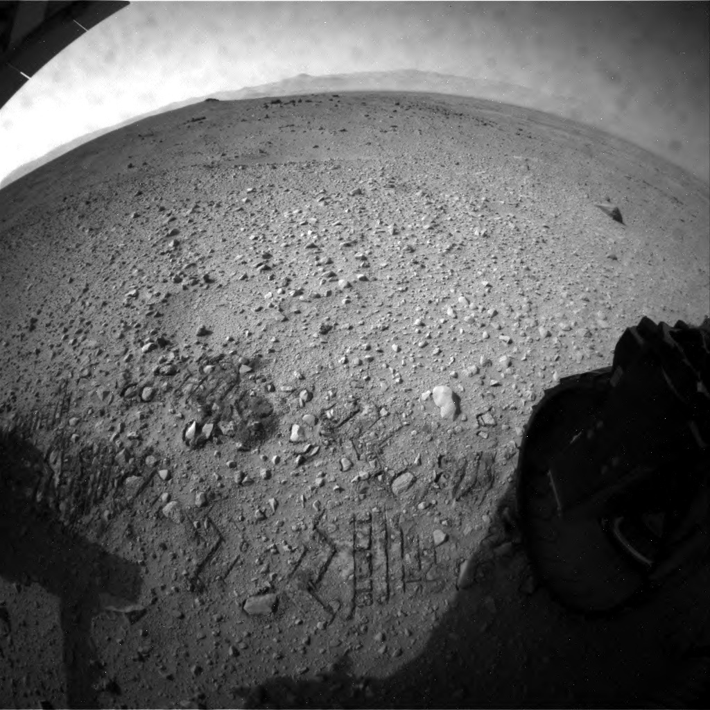 NASA's Mars rover Curiosity acquired this image using its Rear Hazard Avoidance Cameras (Rear Hazcams) on Sol 48