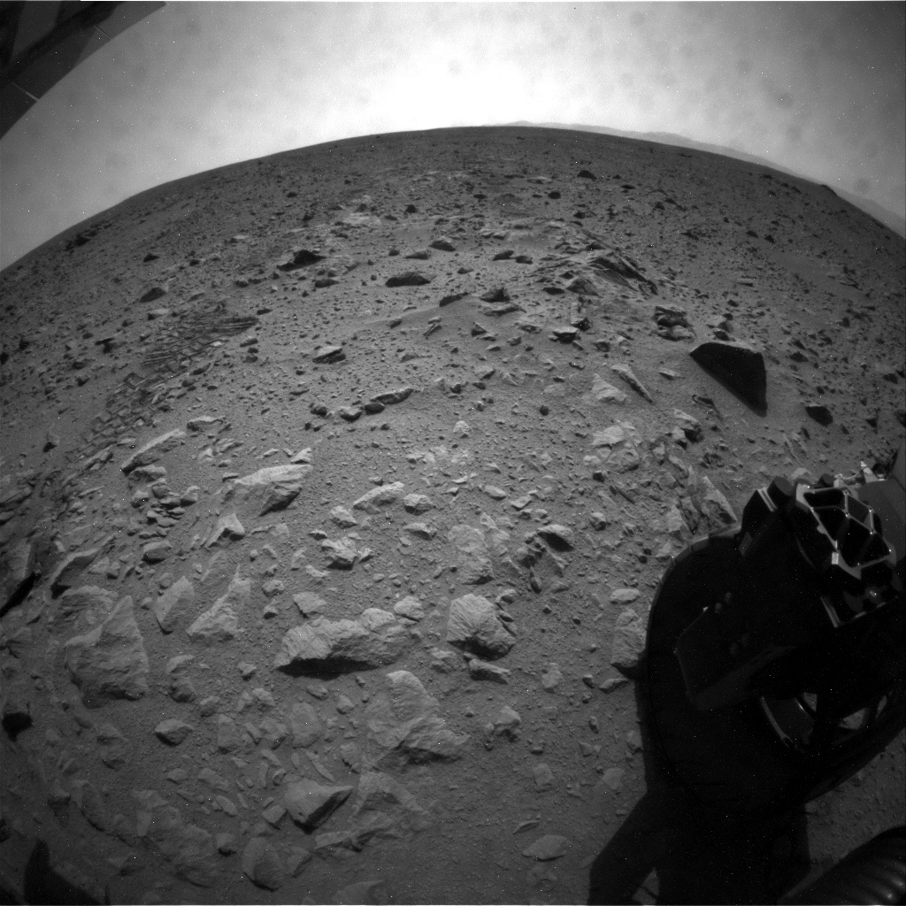 NASA's Mars rover Curiosity acquired this image using its Rear Hazard Avoidance Cameras (Rear Hazcams) on Sol 49