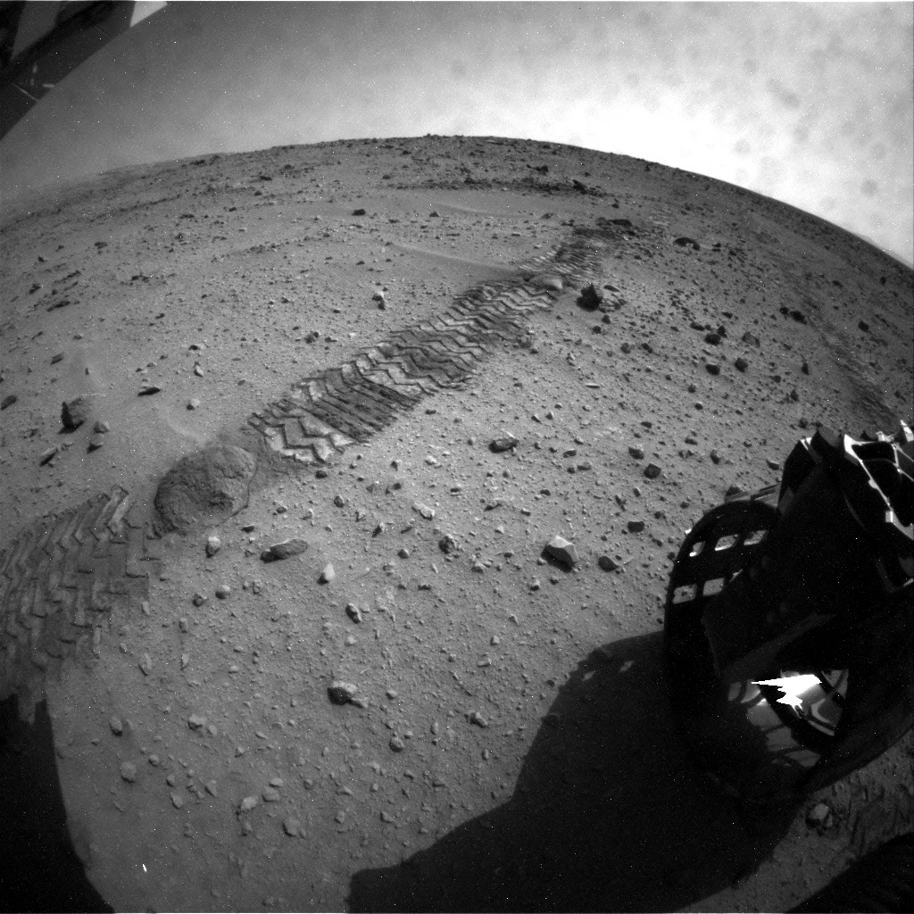 NASA's Mars rover Curiosity acquired this image using its Rear Hazard Avoidance Cameras (Rear Hazcams) on Sol 50
