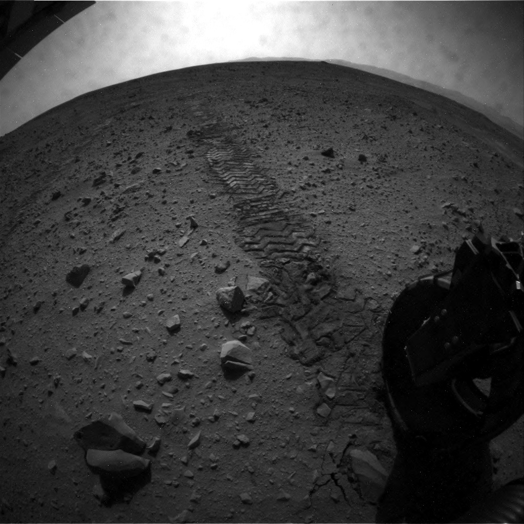 NASA's Mars rover Curiosity acquired this image using its Rear Hazard Avoidance Cameras (Rear Hazcams) on Sol 52