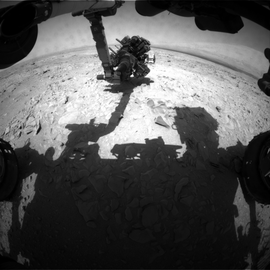 NASA's Mars rover Curiosity acquired this image using its Front Hazard Avoidance Cameras (Front Hazcams) on Sol 54