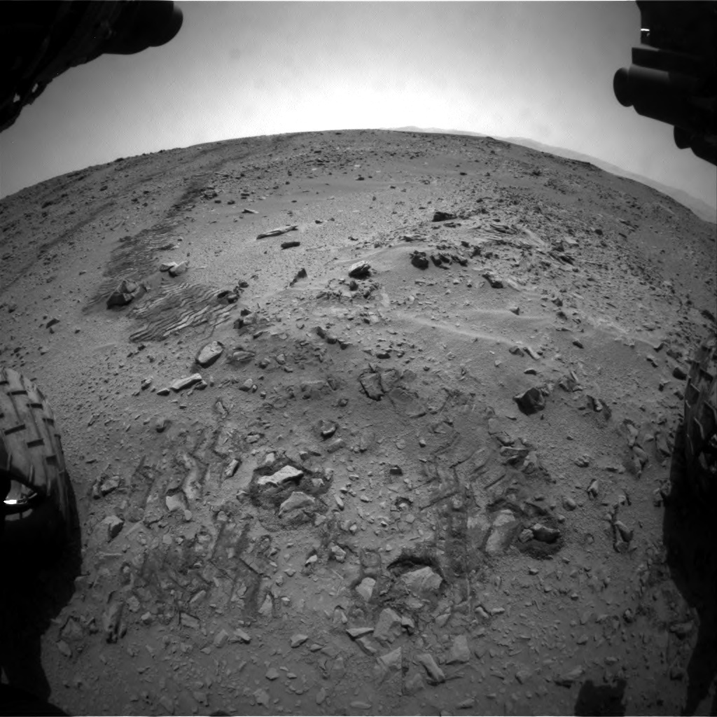 NASA's Mars rover Curiosity acquired this image using its Front Hazard Avoidance Cameras (Front Hazcams) on Sol 55