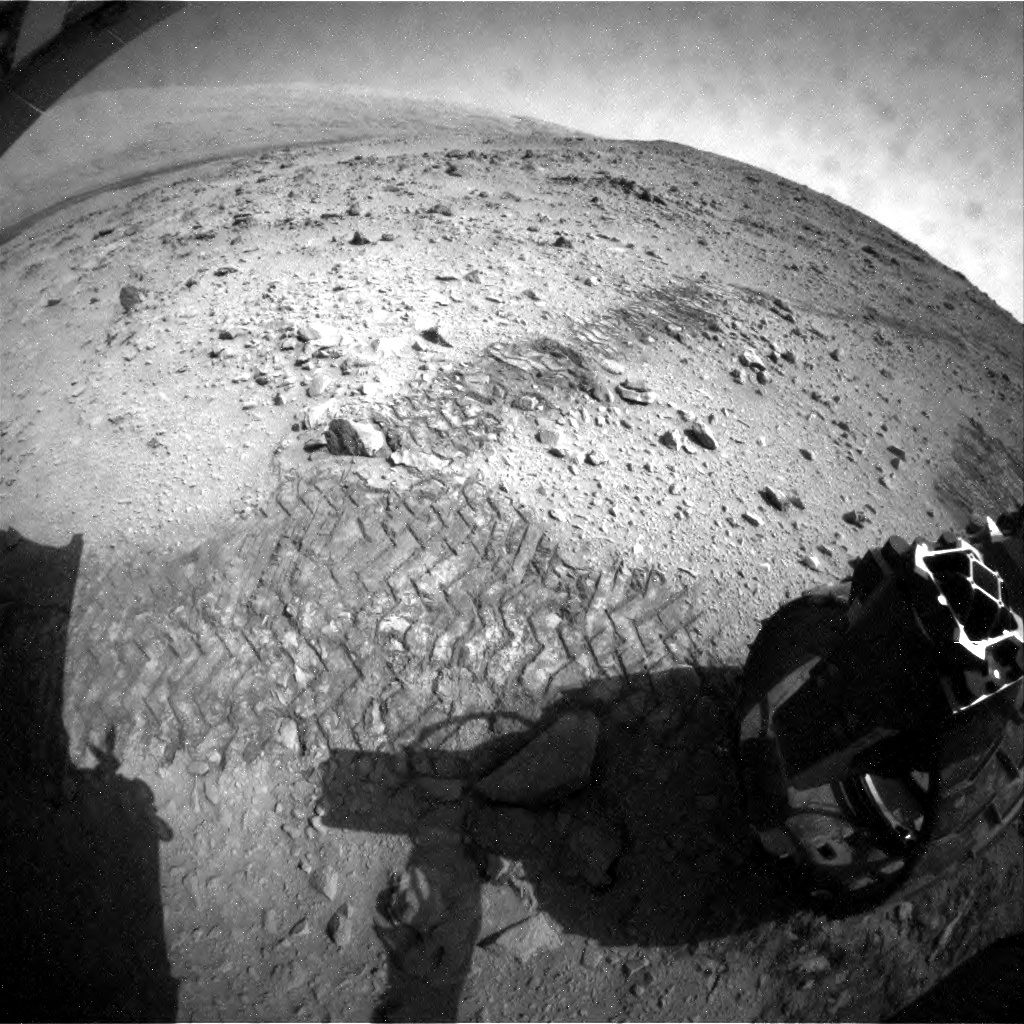 NASA's Mars rover Curiosity acquired this image using its Rear Hazard Avoidance Cameras (Rear Hazcams) on Sol 55
