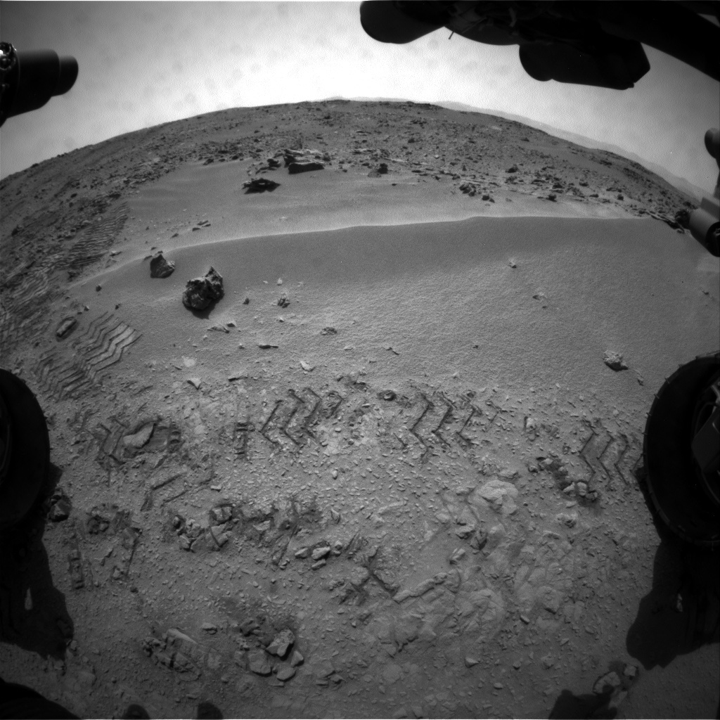 NASA's Mars rover Curiosity acquired this image using its Front Hazard Avoidance Cameras (Front Hazcams) on Sol 56