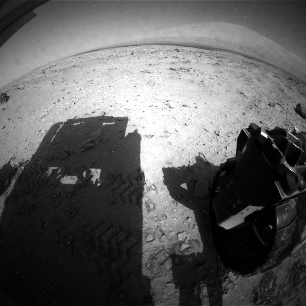 NASA's Mars rover Curiosity acquired this image using its Rear Hazard Avoidance Cameras (Rear Hazcams) on Sol 56