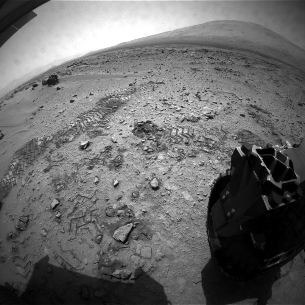 NASA's Mars rover Curiosity acquired this image using its Rear Hazard Avoidance Cameras (Rear Hazcams) on Sol 61