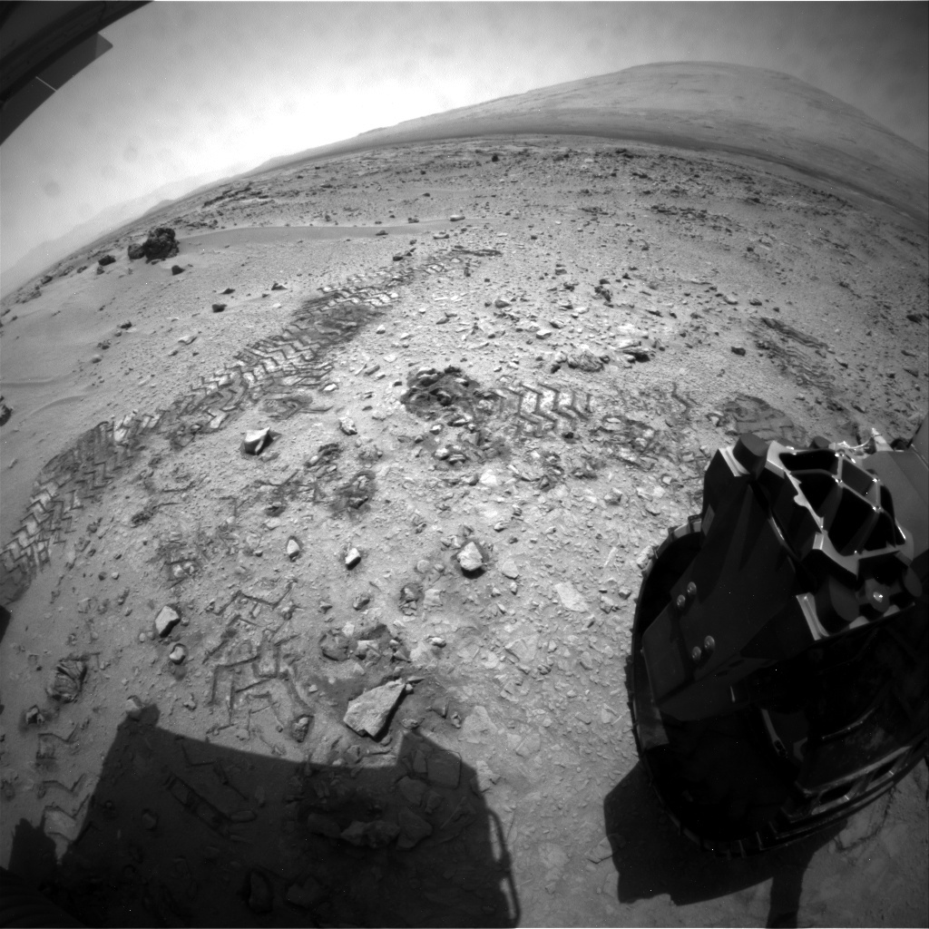 NASA's Mars rover Curiosity acquired this image using its Rear Hazard Avoidance Cameras (Rear Hazcams) on Sol 63