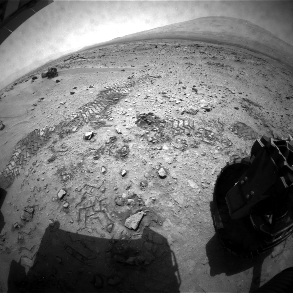 NASA's Mars rover Curiosity acquired this image using its Rear Hazard Avoidance Cameras (Rear Hazcams) on Sol 64