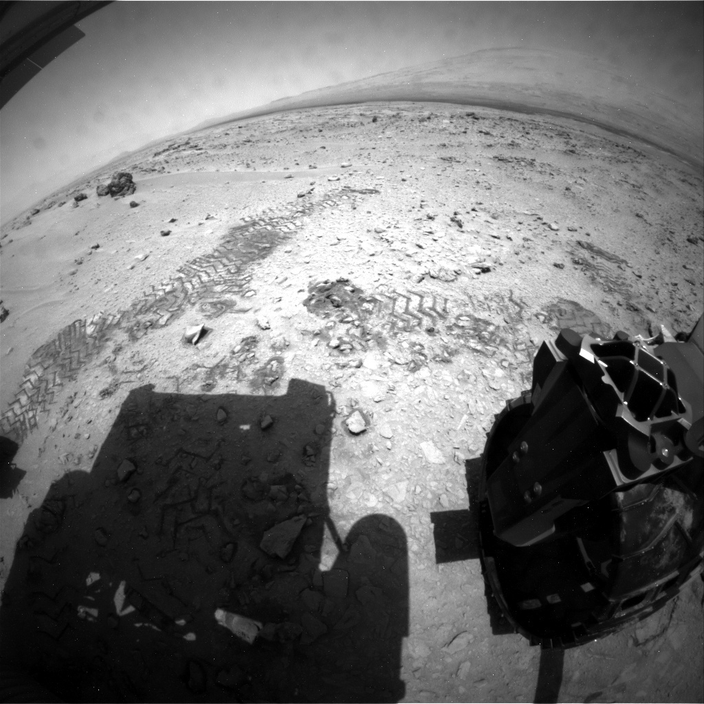 NASA's Mars rover Curiosity acquired this image using its Rear Hazard Avoidance Cameras (Rear Hazcams) on Sol 70