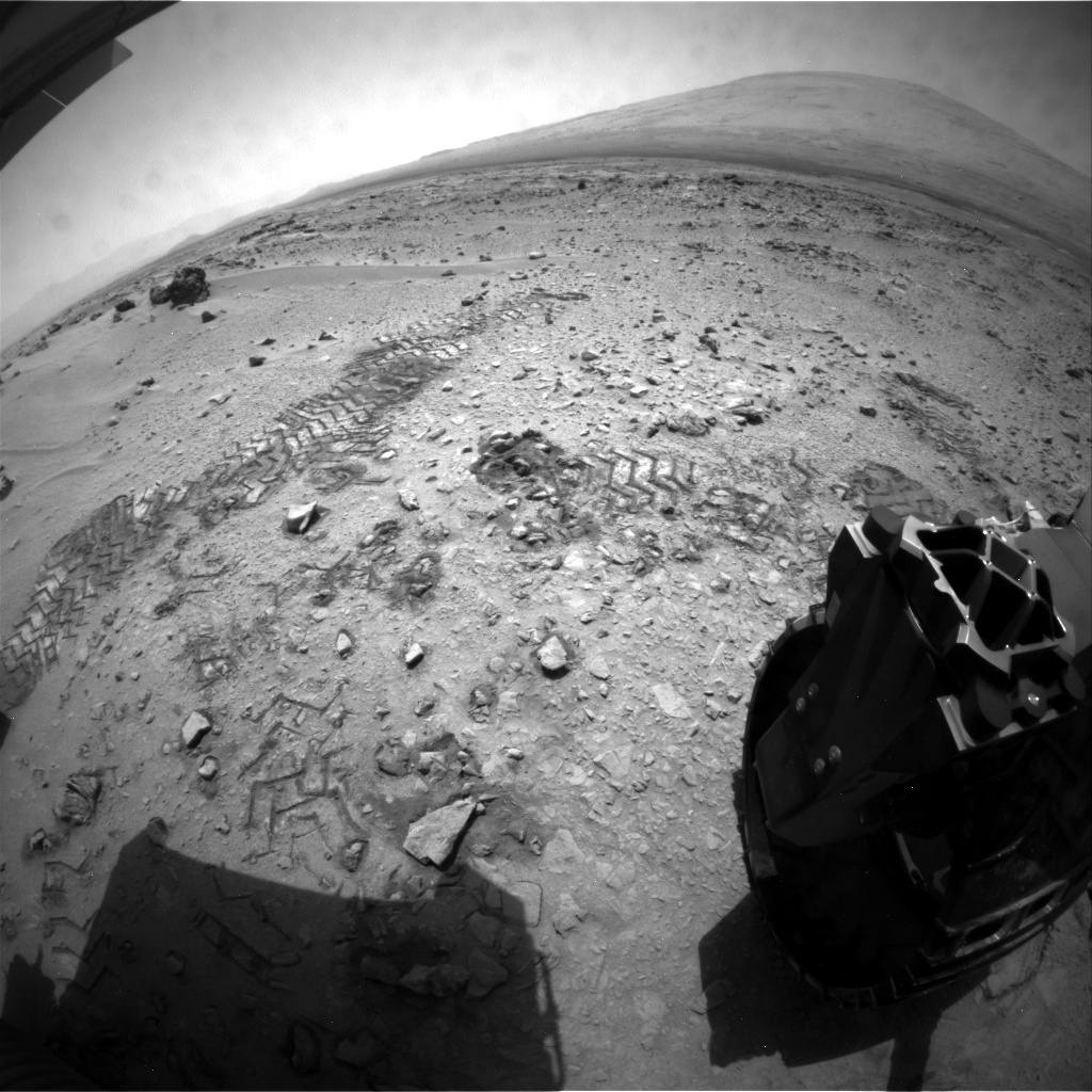 NASA's Mars rover Curiosity acquired this image using its Rear Hazard Avoidance Cameras (Rear Hazcams) on Sol 72