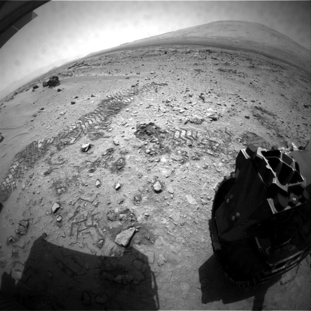 NASA's Mars rover Curiosity acquired this image using its Rear Hazard Avoidance Cameras (Rear Hazcams) on Sol 73