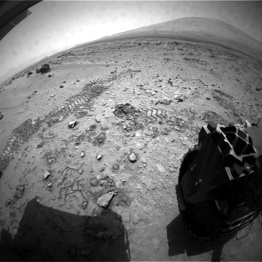 NASA's Mars rover Curiosity acquired this image using its Rear Hazard Avoidance Cameras (Rear Hazcams) on Sol 76