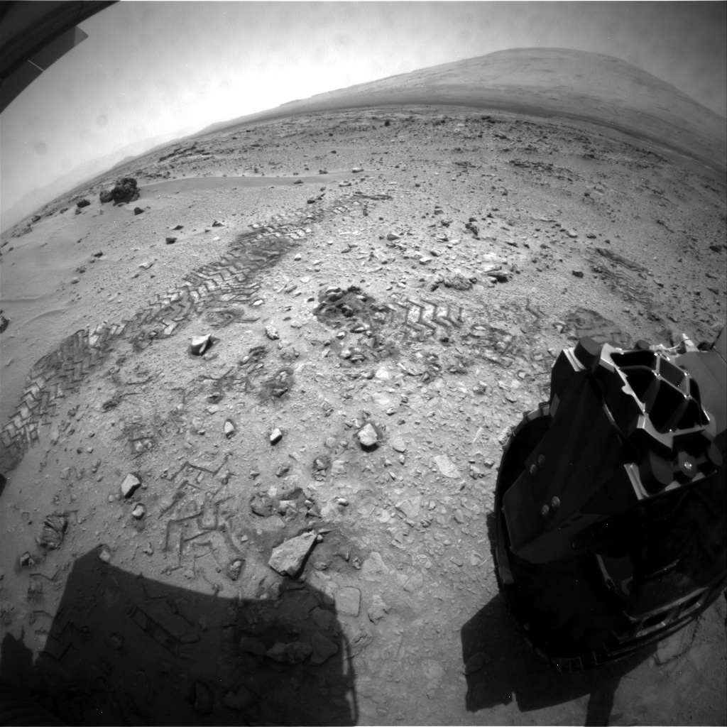 NASA's Mars rover Curiosity acquired this image using its Rear Hazard Avoidance Cameras (Rear Hazcams) on Sol 77