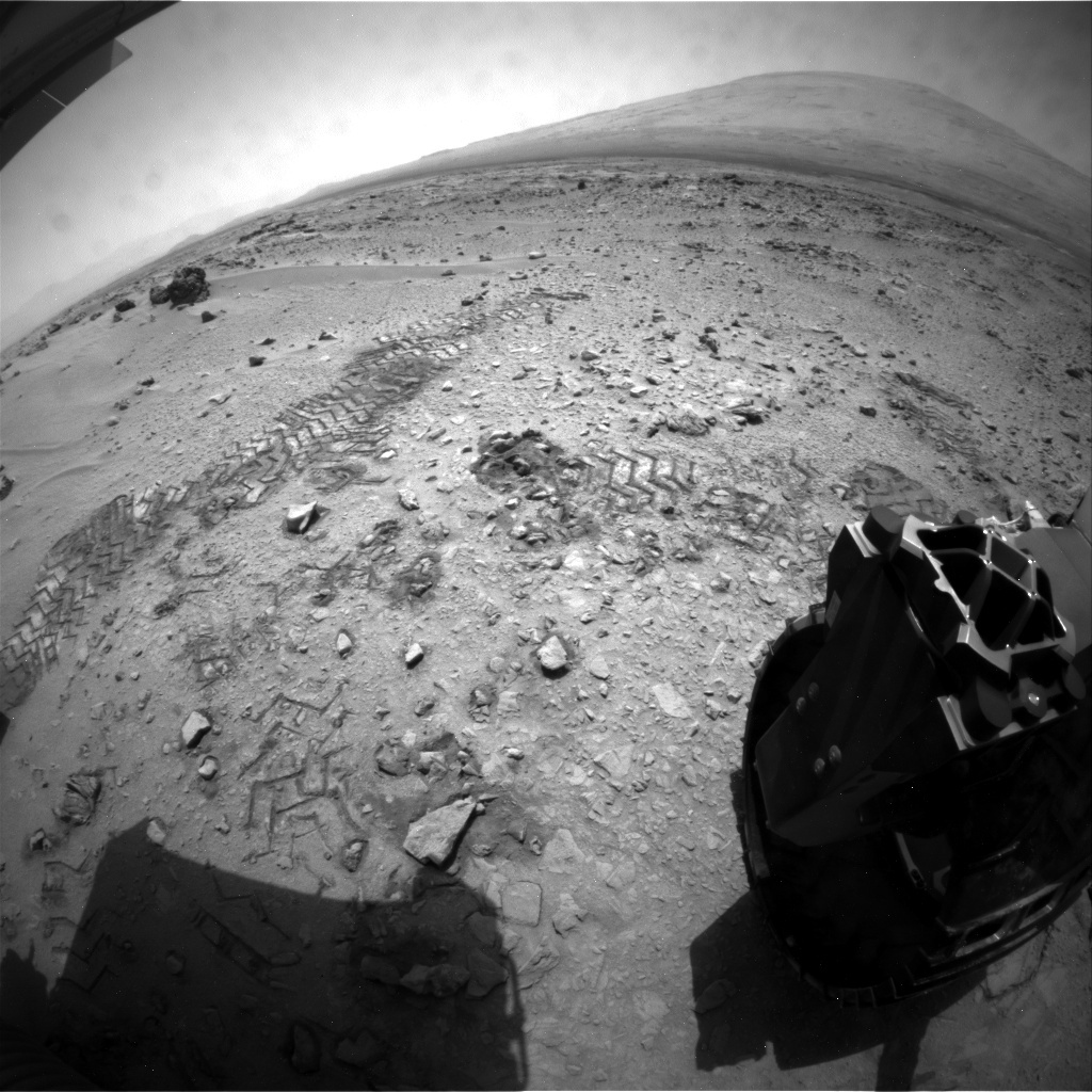 NASA's Mars rover Curiosity acquired this image using its Rear Hazard Avoidance Cameras (Rear Hazcams) on Sol 79