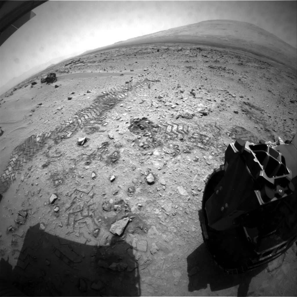 NASA's Mars rover Curiosity acquired this image using its Rear Hazard Avoidance Cameras (Rear Hazcams) on Sol 81