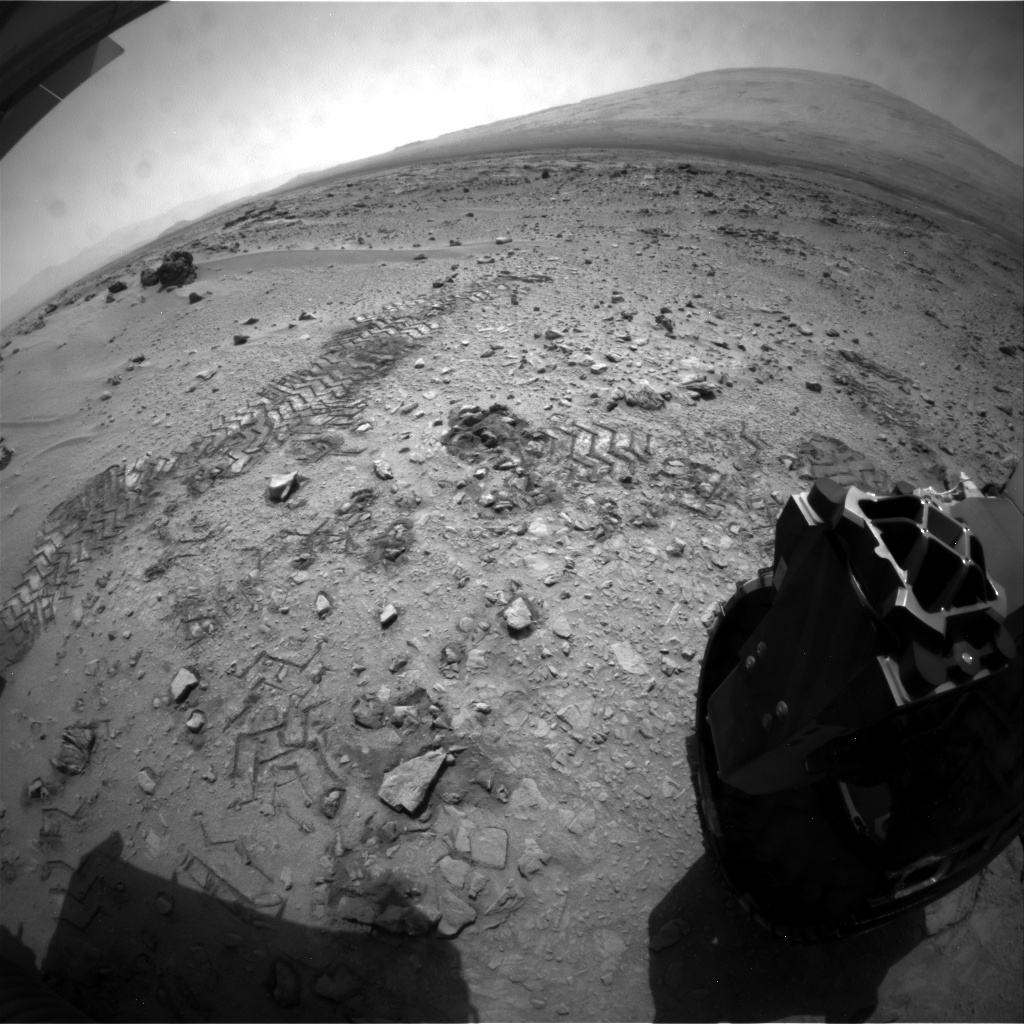 NASA's Mars rover Curiosity acquired this image using its Rear Hazard Avoidance Cameras (Rear Hazcams) on Sol 82