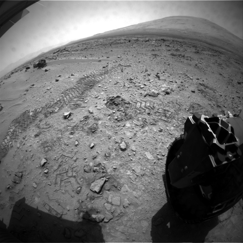 NASA's Mars rover Curiosity acquired this image using its Rear Hazard Avoidance Cameras (Rear Hazcams) on Sol 90