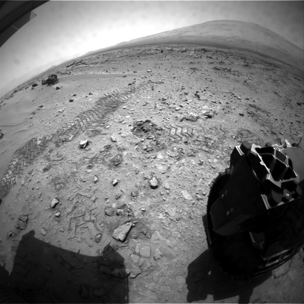 NASA's Mars rover Curiosity acquired this image using its Rear Hazard Avoidance Cameras (Rear Hazcams) on Sol 92