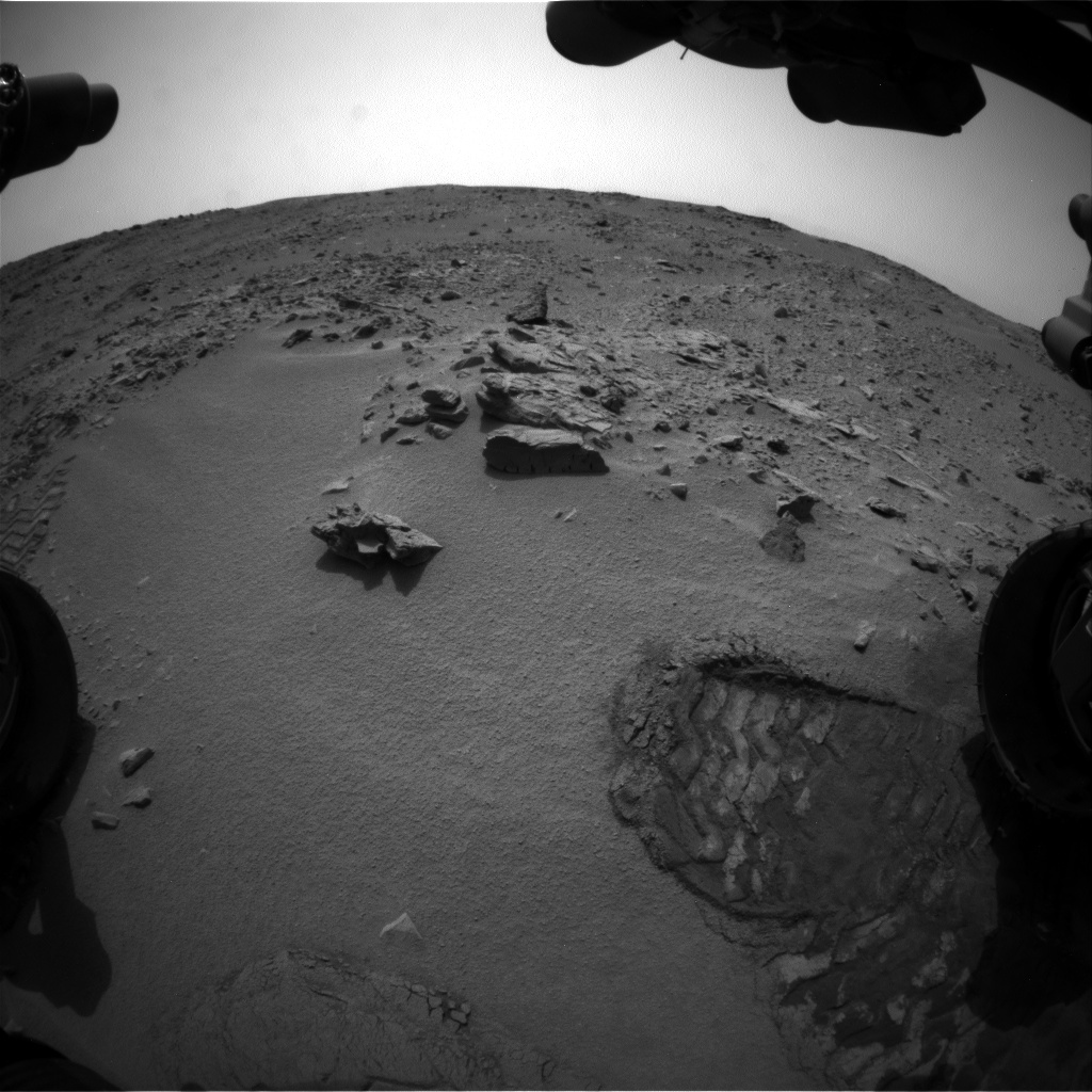 NASA's Mars rover Curiosity acquired this image using its Front Hazard Avoidance Cameras (Front Hazcams) on Sol 100