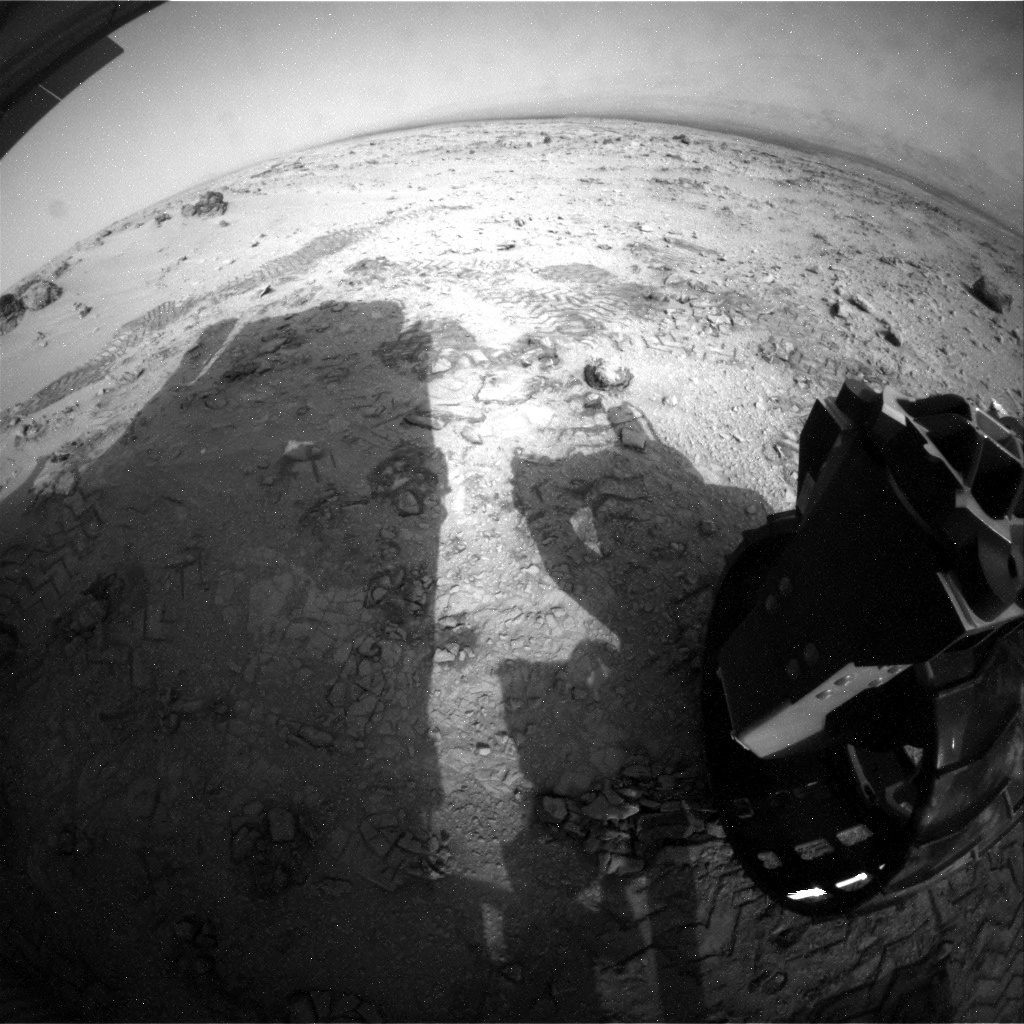 NASA's Mars rover Curiosity acquired this image using its Rear Hazard Avoidance Cameras (Rear Hazcams) on Sol 100