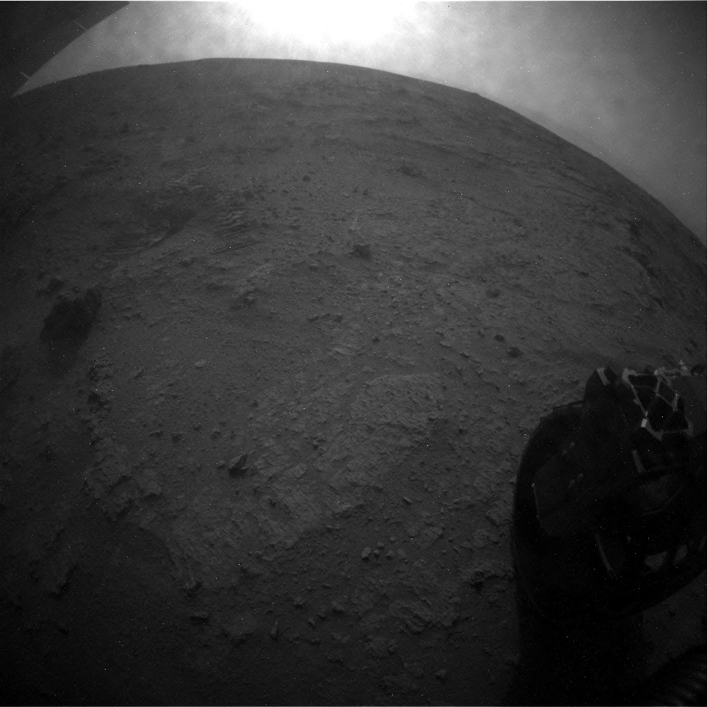 NASA's Mars rover Curiosity acquired this image using its Rear Hazard Avoidance Cameras (Rear Hazcams) on Sol 102