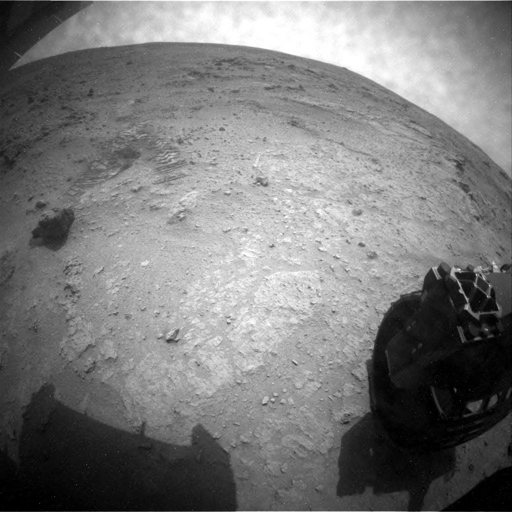 NASA's Mars rover Curiosity acquired this image using its Rear Hazard Avoidance Cameras (Rear Hazcams) on Sol 104