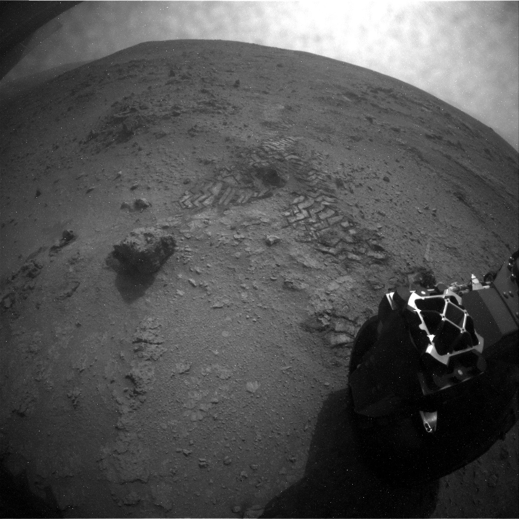 NASA's Mars rover Curiosity acquired this image using its Rear Hazard Avoidance Cameras (Rear Hazcams) on Sol 111